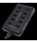 LogiLink 10 Port Hub, USB 2.0 actief met schakelaar Zw